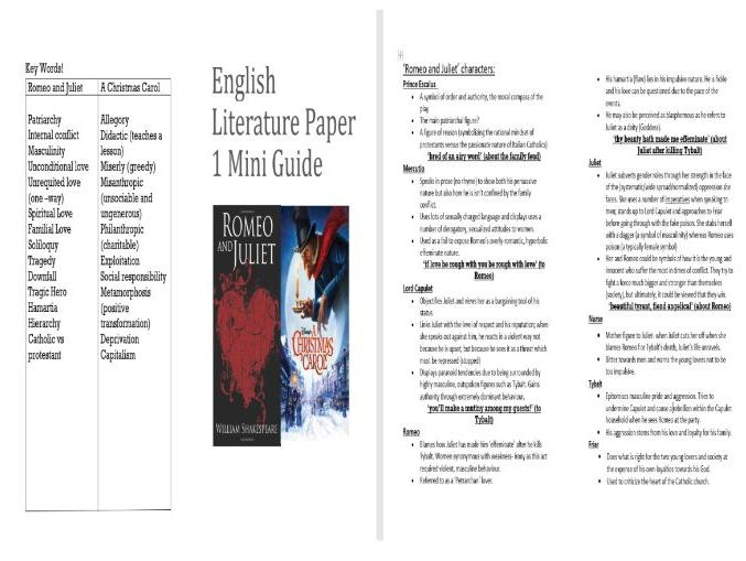 Romeo and Juliet/ A Christmas Carol Revision Pocket Guide