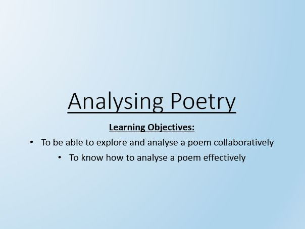 Analysing Poetry