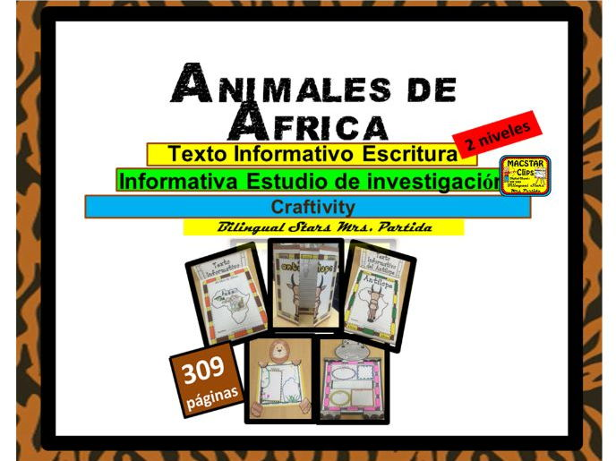 Animales de AFRICA African Animals Reading Writing Creaftivity ResearchText Art