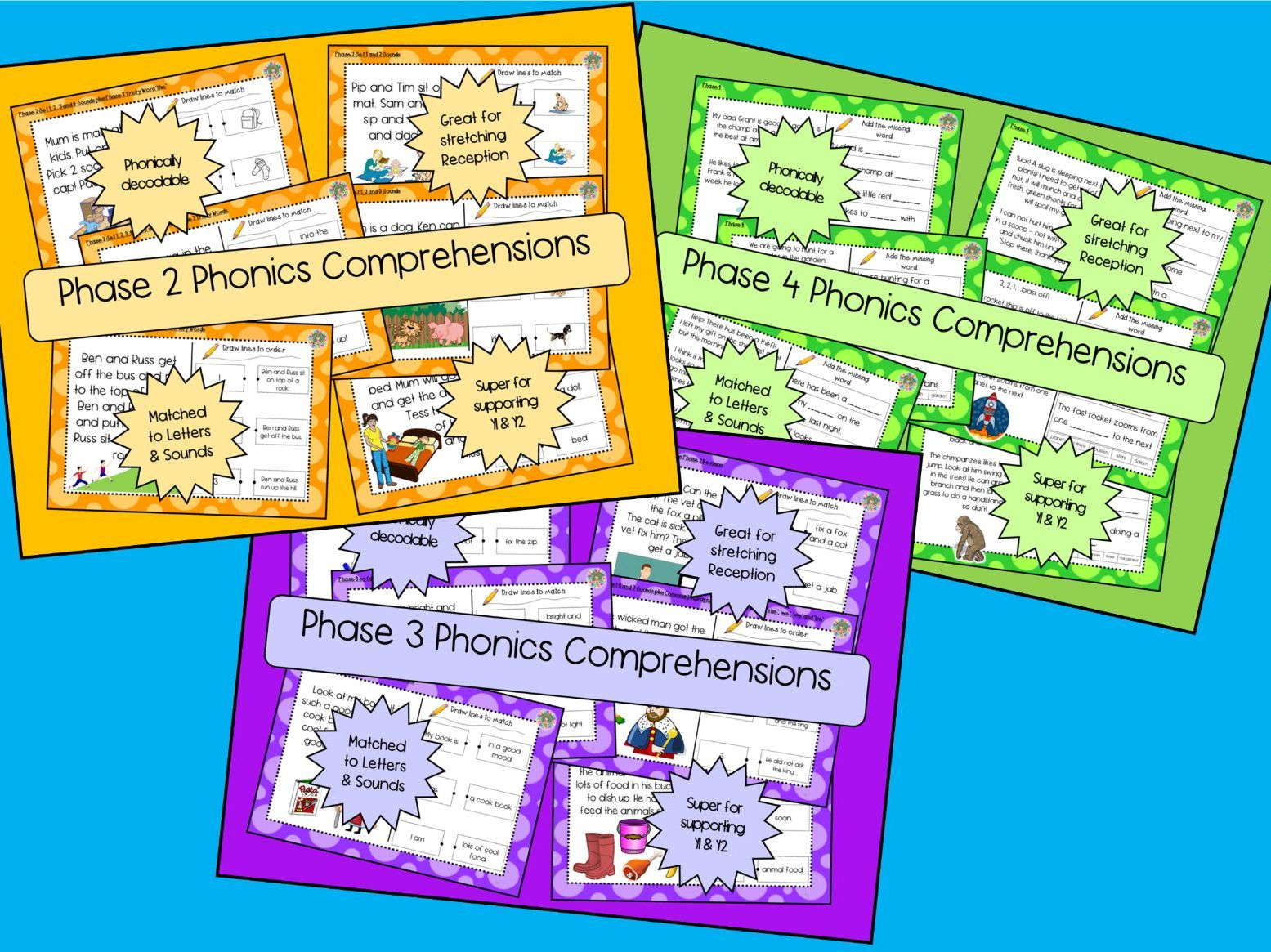 Letters and Sounds Phase 2, 3 & 4 Phonics Comprehension - UPDATED GROWING BUNDLE
