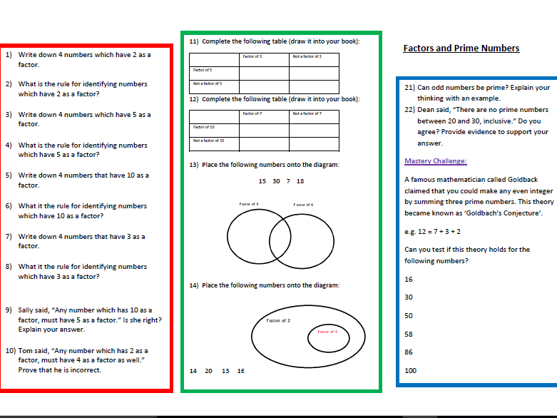 Two Worksheets on Factors, Prime Numbers and Multiples for Year 6