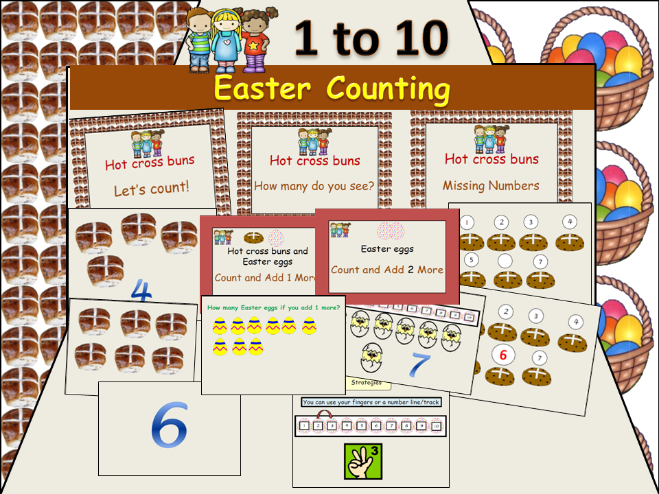 Easter-Themed Counting 1 - 10: Presentation, Cut/Paste Activities, Worksheets