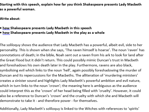 macbeth exam sample response aqa english literature new 1