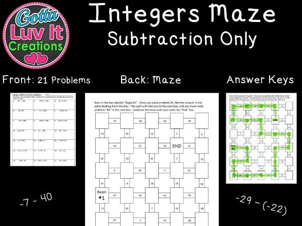 Integers Subtraction - 2 Mazes
