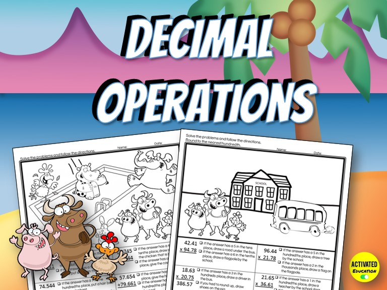 Decimal Operations Solve & Draw Activity