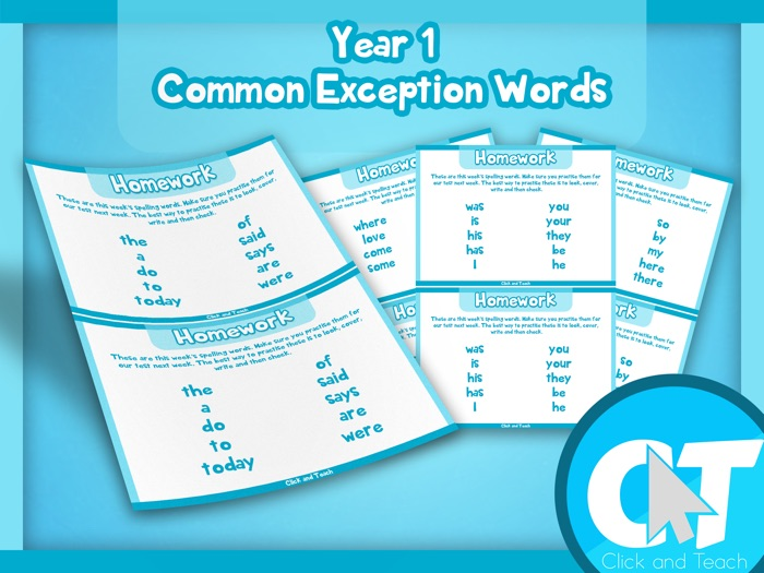 Year 1 Common Exception Words Homework