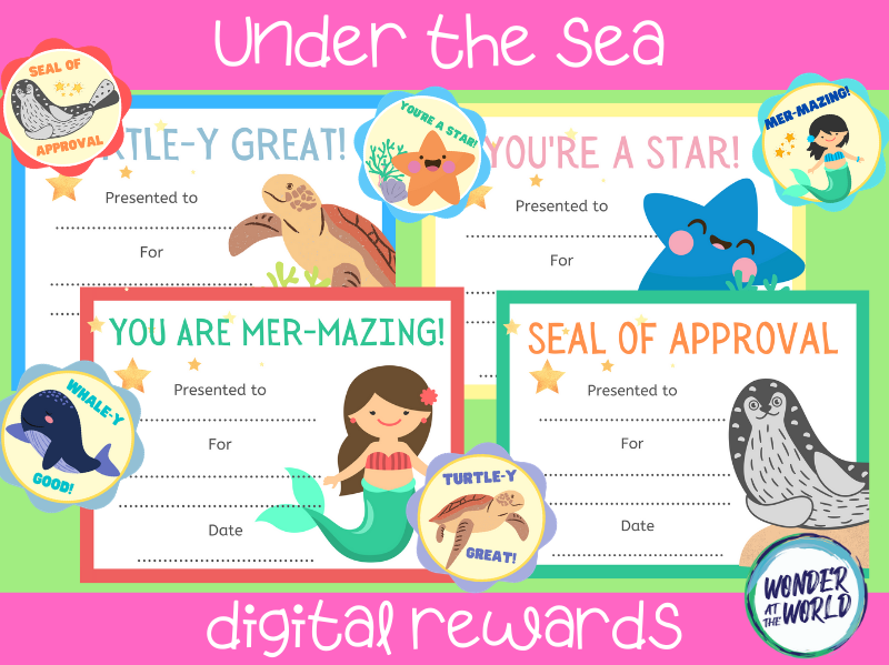 Under the sea themed distance learning digital rewards