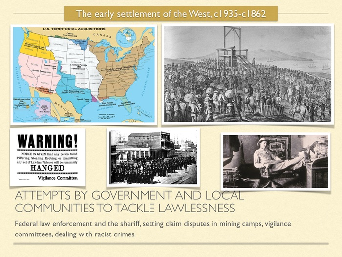 GCSE History of American West in 1800s. Attempts to tackle lawlessness in the West