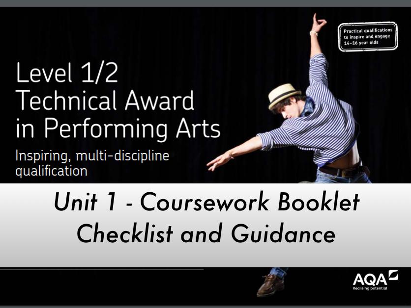 Performing Arts Technical Award (AQA) Unit 1 Coursework