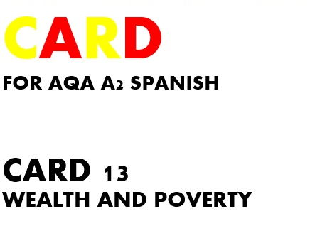 SPEAKING CARD 13 for AQA A2 SPANISH