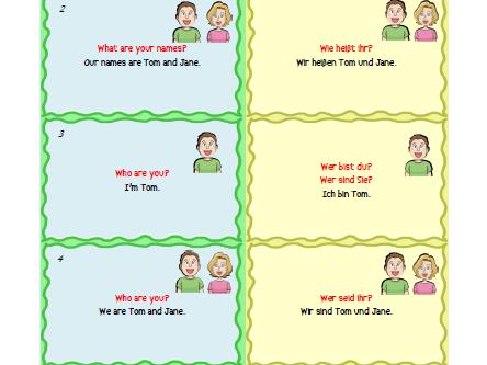 Free English - German Basic Sentences and Vocabulary Flashcards