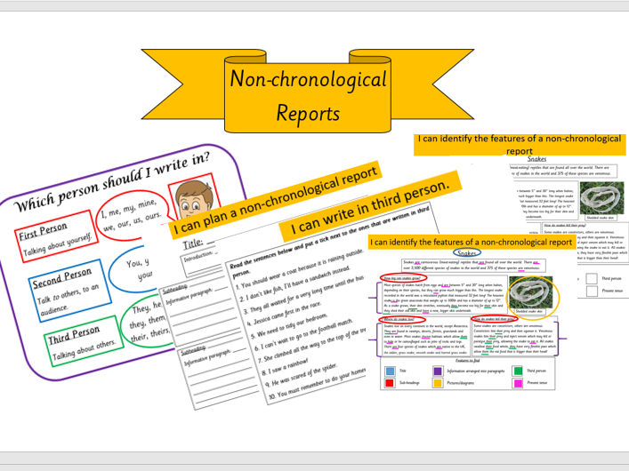 bundle/unit of work KS2 non-chronological reports presentation WAGOLL planning sheet third person