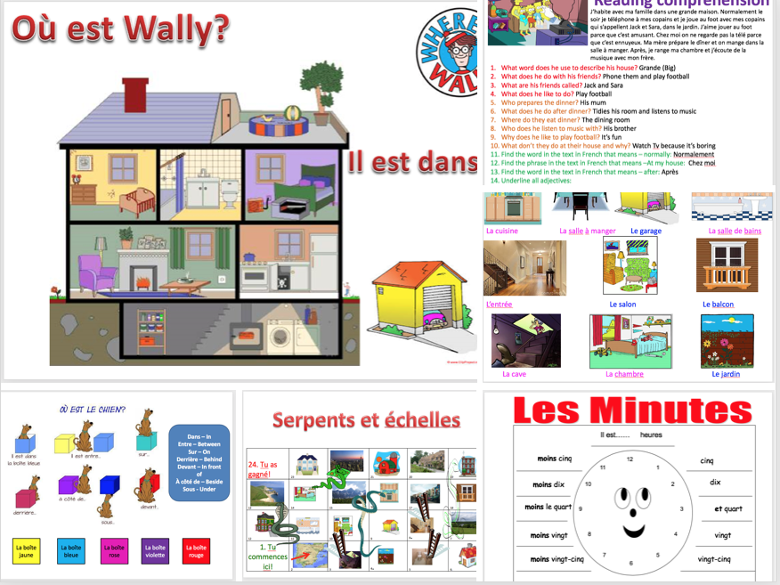 Expo 1 Module 3 (where I live, house, rooms, furniture, prepositions, present tense, numbers, time)- complete topic - differentiated lessons with worksheets and homework
