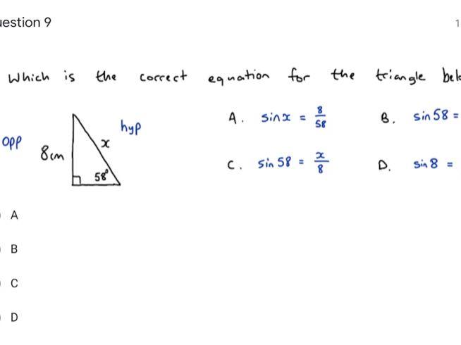 Multiple Choice Trigonometry Google Form