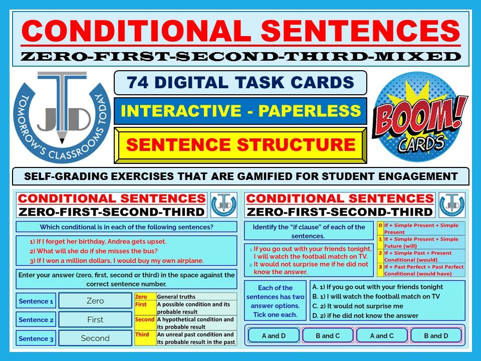 CONDITIONAL SENTENCES: 74 BOOM CARDS