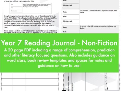 Reading Journal / Diary - Non- Fiction - Year 7