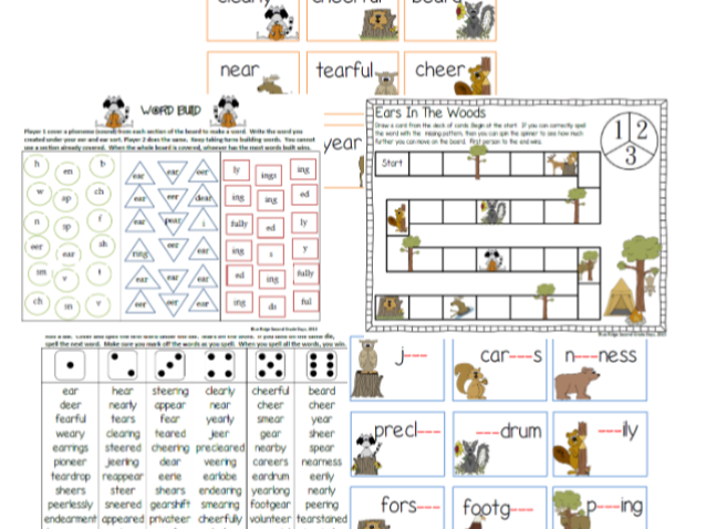 Eer and Ear Word Work Phonics