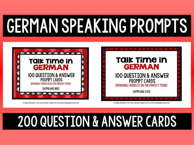 GERMAN SPEAKING PROMPTS - 200 CARDS & REFERENCE BOOKLETS 3&4- SEPARABLE VERBS PRESENT/PERFECT TENSE