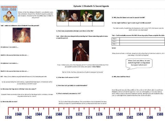 BBC-  Elizabeth I's Secret Agents - Episode 1 - Worksheet to support the BBC documentary