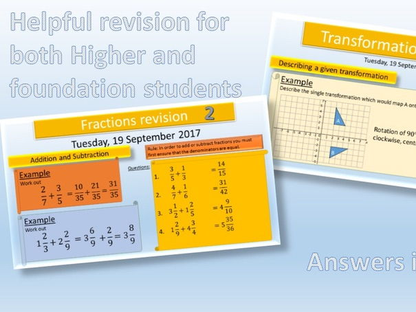 GCSE Revision Lessons: Transformations & Fractions