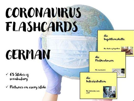 Coronavirus German Flashcards - 65 cards - Deutsch