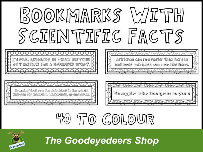 Bookmarks With Scientific Facts - 40 Bookmarks To Colour