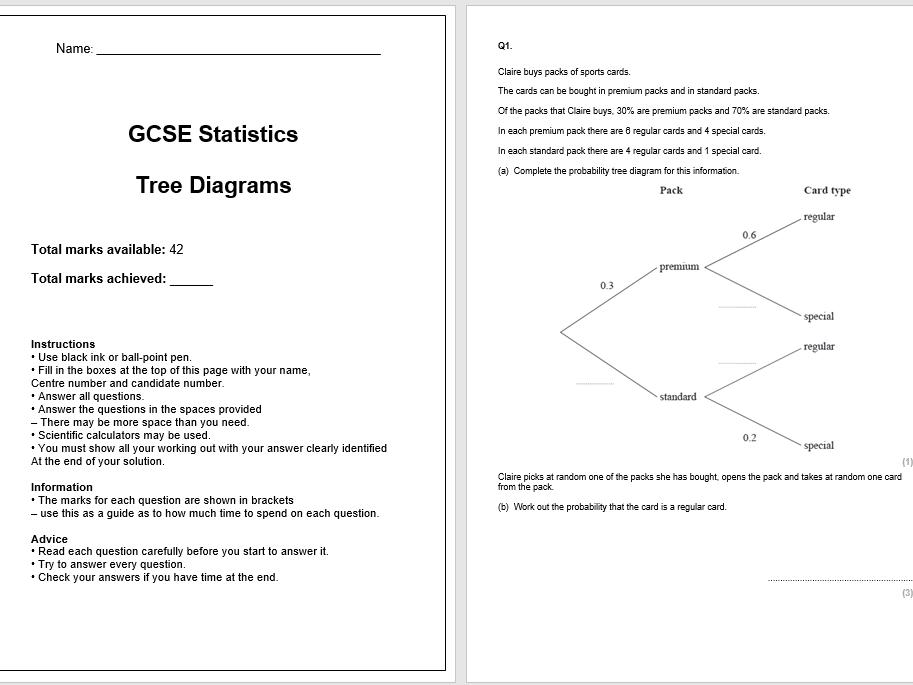 Tree Diagrams Exam Questions (GCSE Statistics)