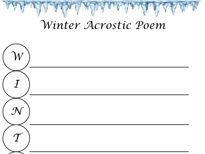 Winter Acrostic Poem Template