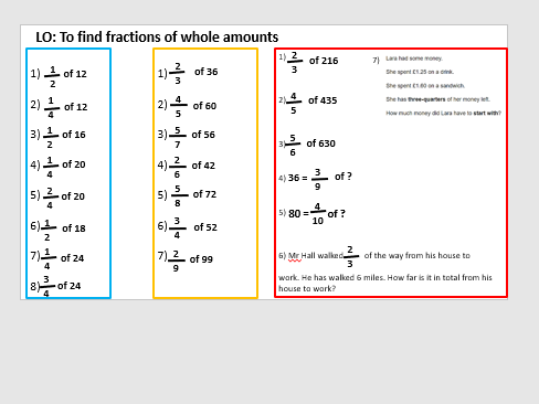 Fractions of amounts year 6