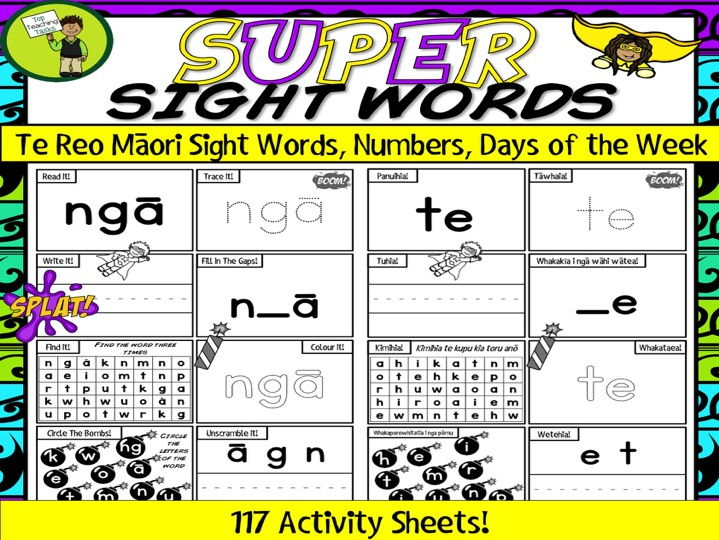 117 Te Reo Māori Sight Word Activity Sheets with Days of Week, Numbers to Ten