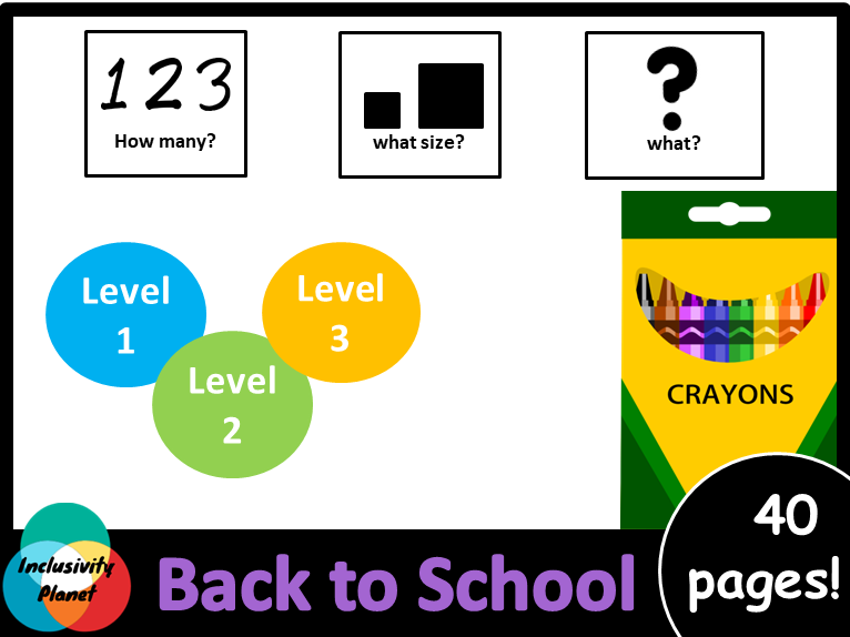 Back to School HOW MANY, WHAT SIZE, WHAT? Adapted book Level 1, Level 2 and Level 3