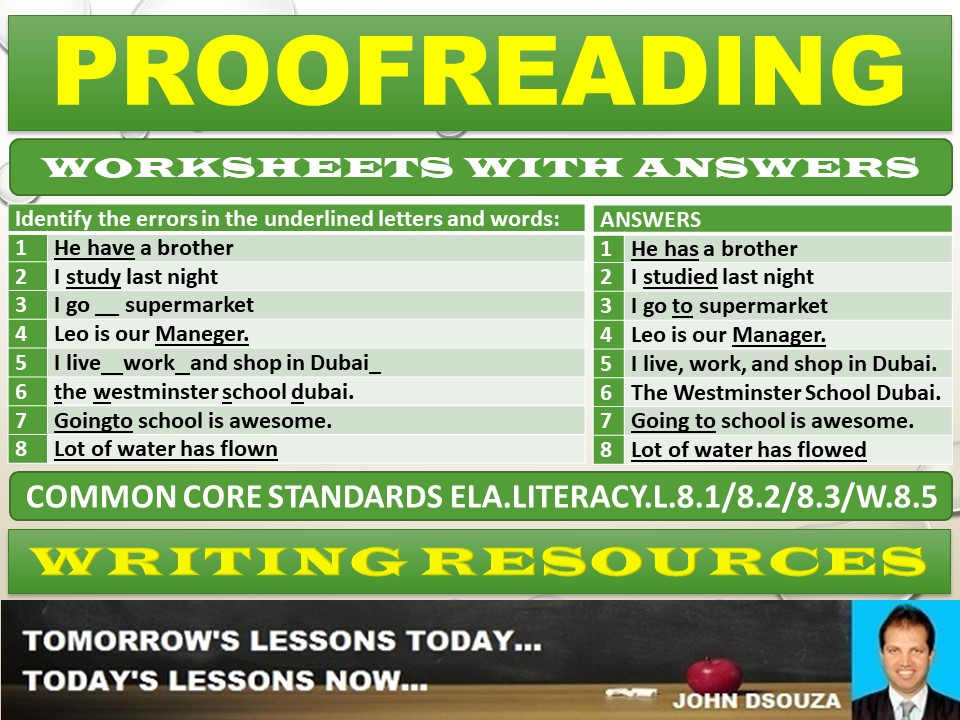 PROOFREADING WORKSHEETS WITH ANSWERS