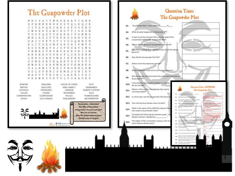 The Gunpowder Plot - Guy Fawkes Day - Wordsearch & Questions sheet