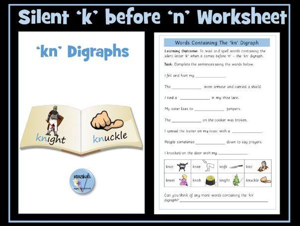Silent 'k'  followed by 'n' (kn) worksheet