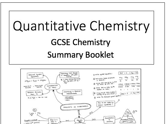 Quantitative Chemistry (Moles) Knowledge Organiser/Summary Booklet AQA GCSE Chemistry