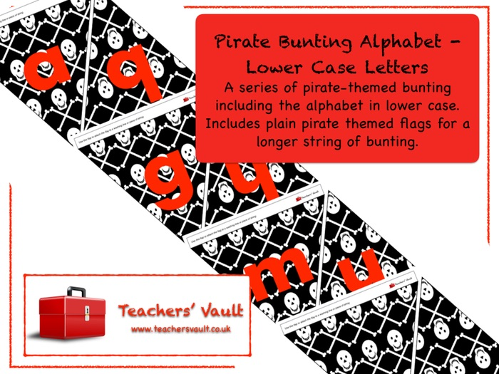 Pirate Bunting Alphabet - Lower Case Letters