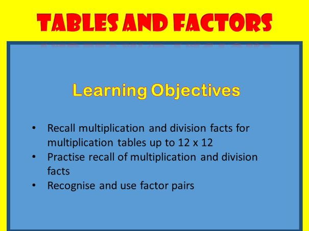Tables and Factors: Y5/6 Maths Lesson