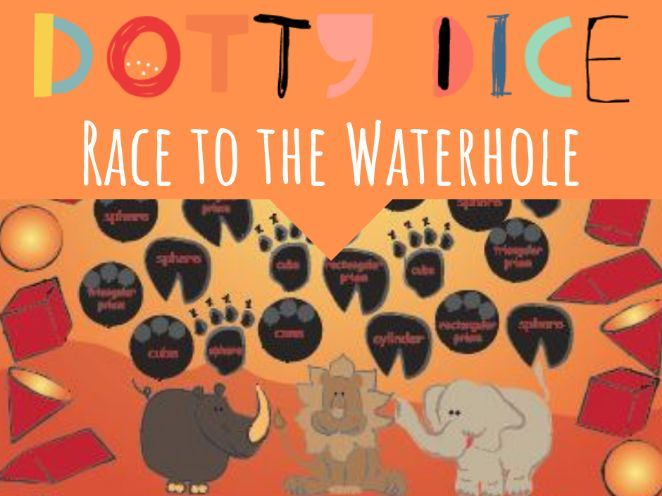 Geometry Board Game - Race to the Waterhole - Identify 3D Shapes by name