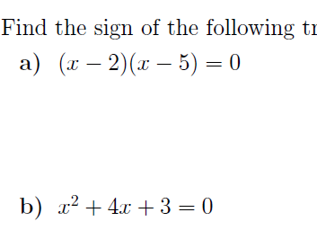 Sign of trinomial-Quadratic inequalities worksheet (with solutions)