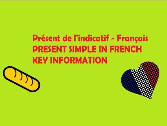 Présent de l'indicatif - Français (key information revision sheet)