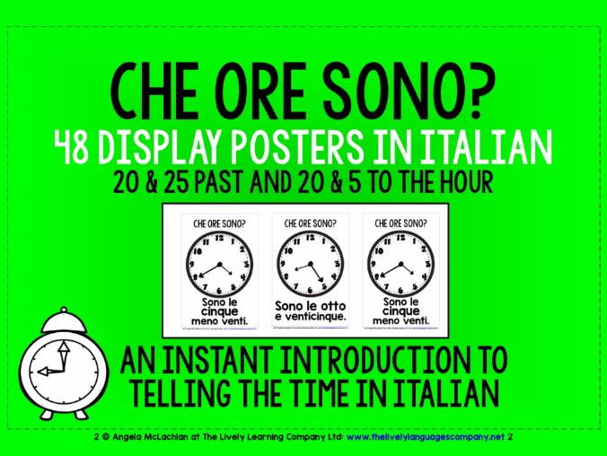 ITALIAN TELLING THE TIME - 48 DISPLAY POSTERS / FLASHCARDS (3)