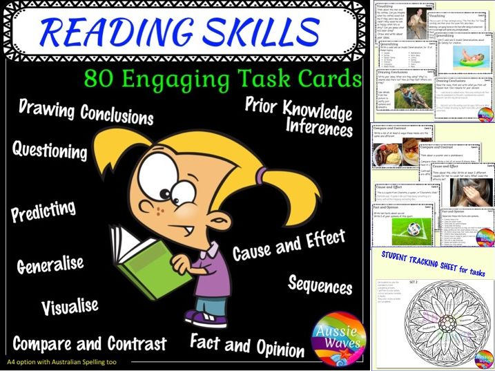 Printable Literacy Centre Activities Task Cards Reading Skills SET 2