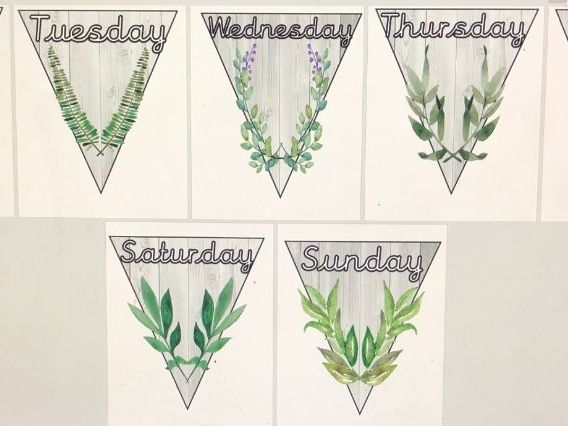 Natural days of the week bunting