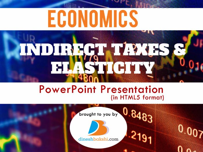Indirect Taxes and Elasticity - Presentation - IGCSE/A Levels/IB Economics