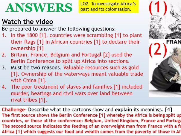 Year 8 Spring-Summer SOW 2017 Development 4) Colonization of Africa WITH ANSWERS