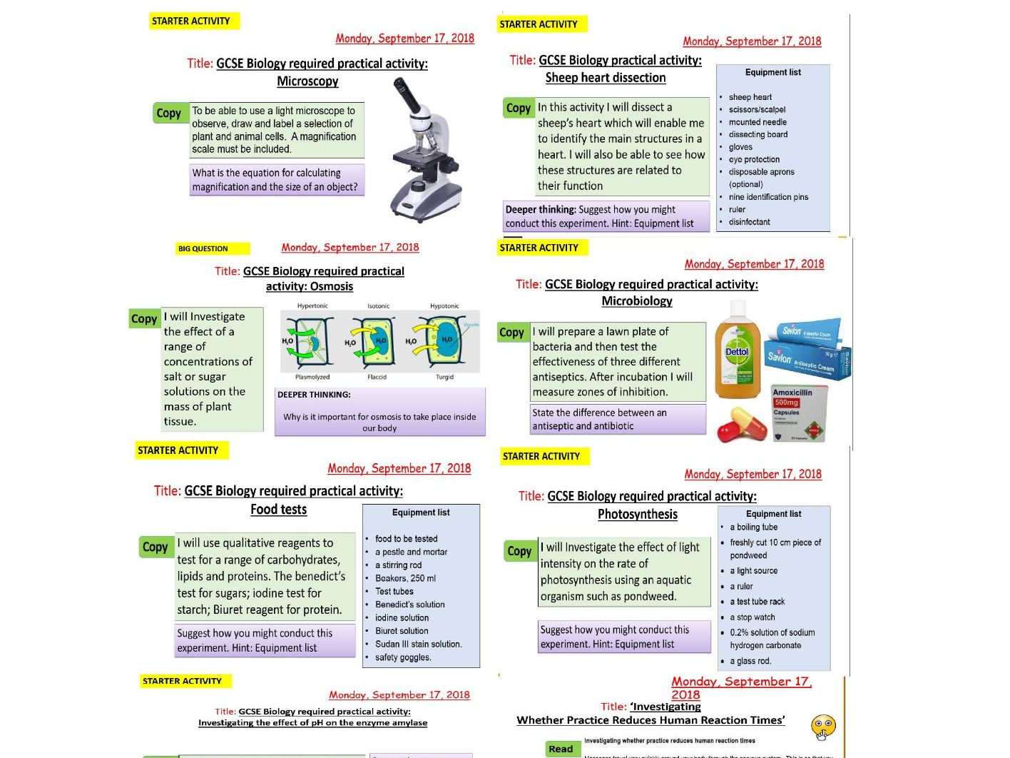 AQA new specification-REQUIRED PRACTICALS 1-10-Separate science