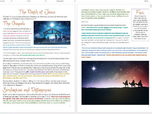 Christmas: The Birth of Jesus: Differentiated Activity Sheets