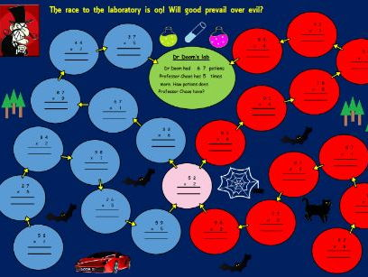 Dr Doom's multiplication game / activity for Lower KS2, Years 3 and 4 (Editable and re-usable)