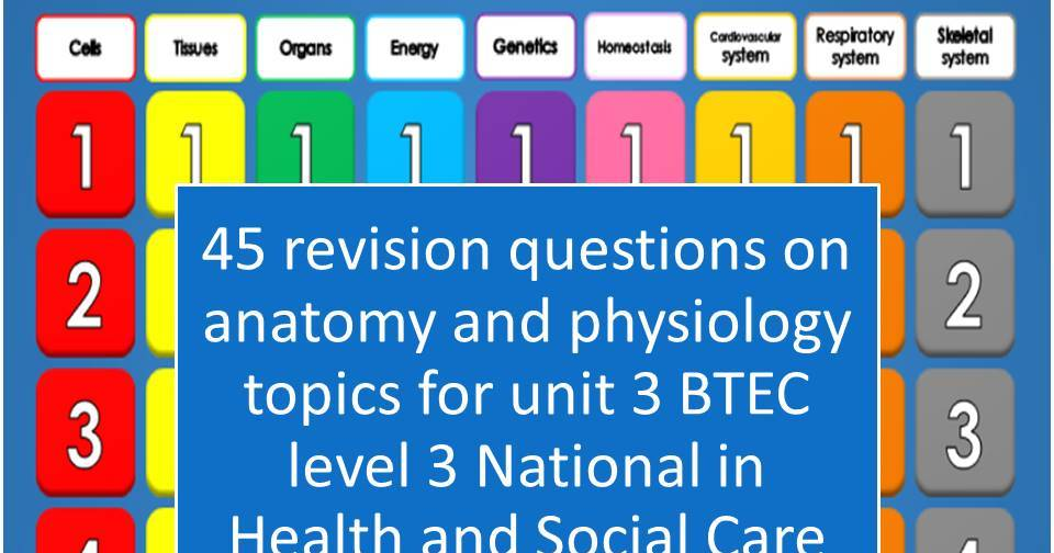 BTEC Level 3 HSC Anatomy And Physiology Revision Quiz 45 Questions On First Half Of Course