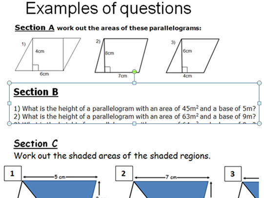AREA OF A PARALLELOGRAM. ANSWERS ON P3